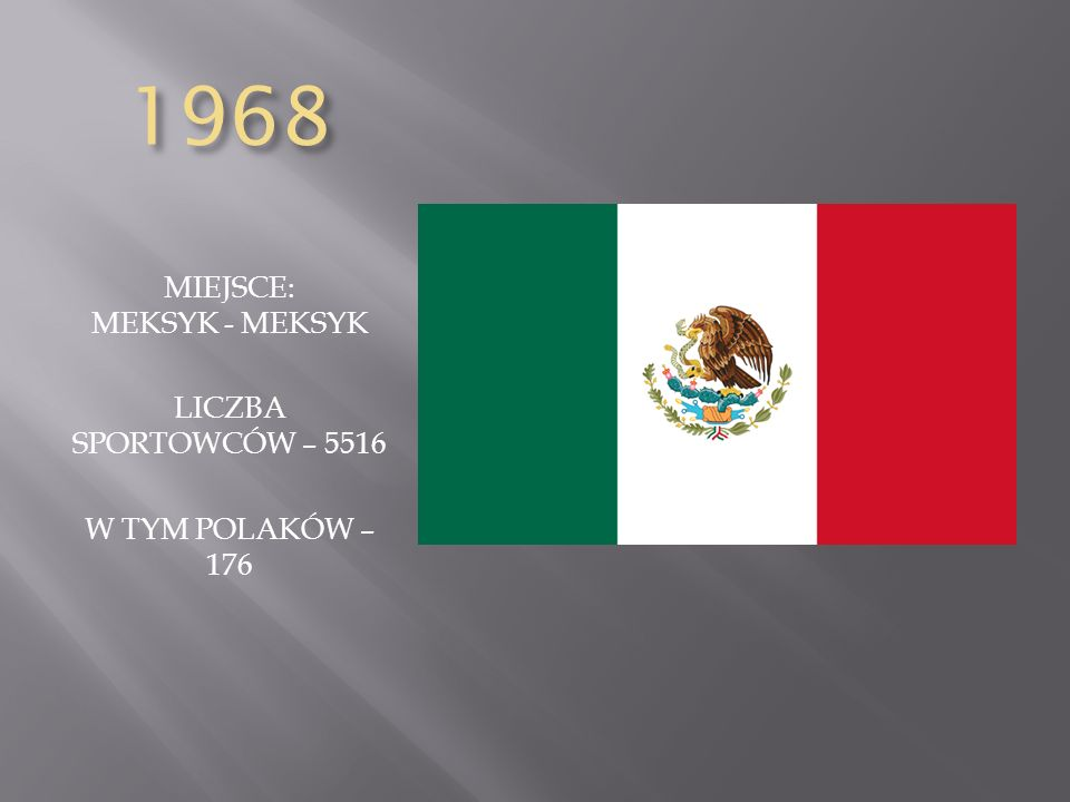 1968 MIEJSCE: MEKSYK - MEKSYK LICZBA SPORTOWCÓW – 5516 W TYM POLAKÓW – 176