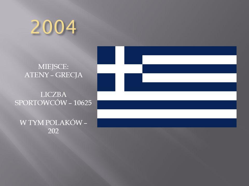 2004 MIEJSCE: ATENY – GRECJA LICZBA SPORTOWCÓW – 10625 W TYM POLAKÓW – 202