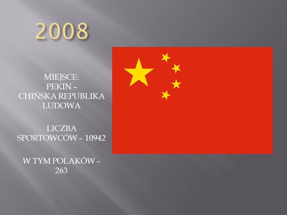 2008 MIEJSCE: PEKIN – CHIŃSKA REPUBLIKA LUDOWA LICZBA SPORTOWCÓW – 10942 W TYM POLAKÓW – 263
