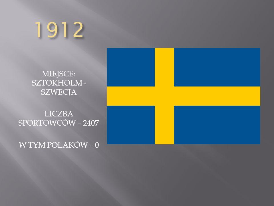 1912 MIEJSCE: SZTOKHOLM - SZWECJA LICZBA SPORTOWCÓW – 2407 W TYM POLAKÓW – 0