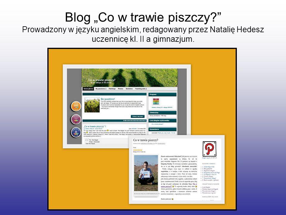 Blog Co w trawie piszczy? Prowadzony w języku angielskim, redagowany przez Natalię Hedesz uczennicę kl. II a gimnazjum.