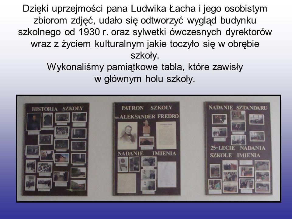 Dzięki uprzejmości pana Ludwika Łacha i jego osobistym zbiorom zdjęć, udało się odtworzyć wygląd budynku szkolnego od 1930 r. oraz sylwetki ówczesnych