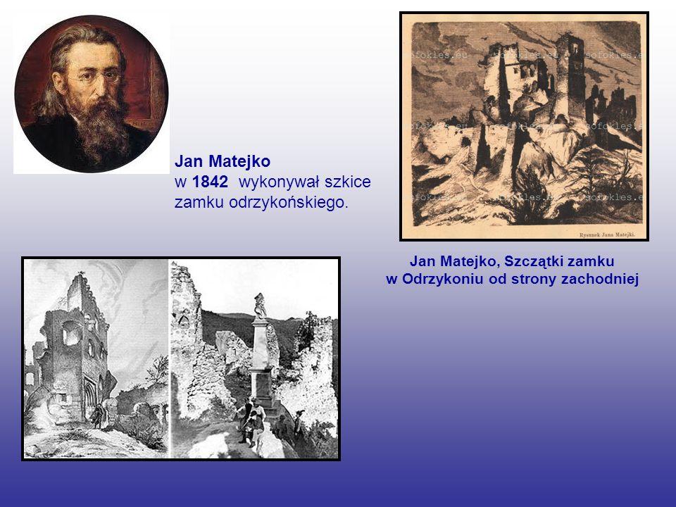Jan Matejko w 1842 wykonywał szkice zamku odrzykońskiego. Jan Matejko, Szczątki zamku w Odrzykoniu od strony zachodniej