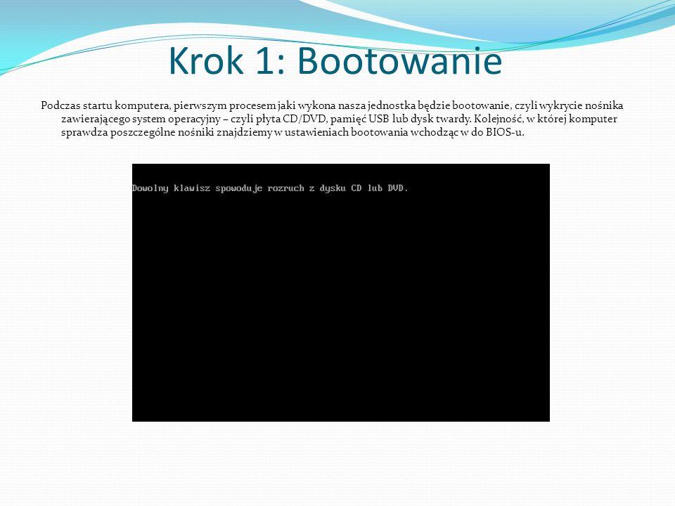 Krok 1: Bootowanie Podczas startu komputera, pierwszym procesem jaki wykona nasza jednostka będzie bootowanie, czyli wykrycie nośnika zawierającego sy