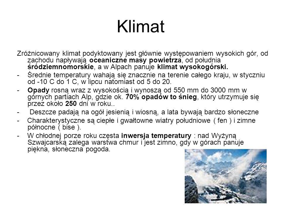 Klimat Zróżnicowany klimat podyktowany jest głównie występowaniem wysokich gór, od zachodu napływają oceaniczne masy powietrza, od południa śródziemno