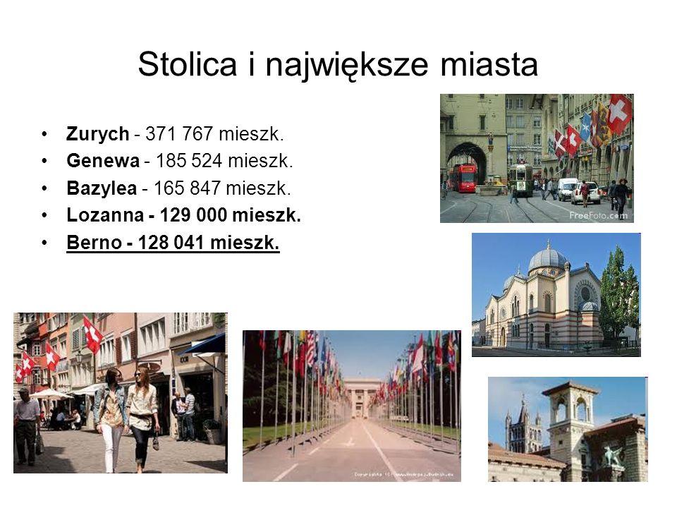 Stolica i największe miasta Zurych - 371 767 mieszk. Genewa - 185 524 mieszk. Bazylea - 165 847 mieszk. Lozanna - 129 000 mieszk. Berno - 128 041 mies