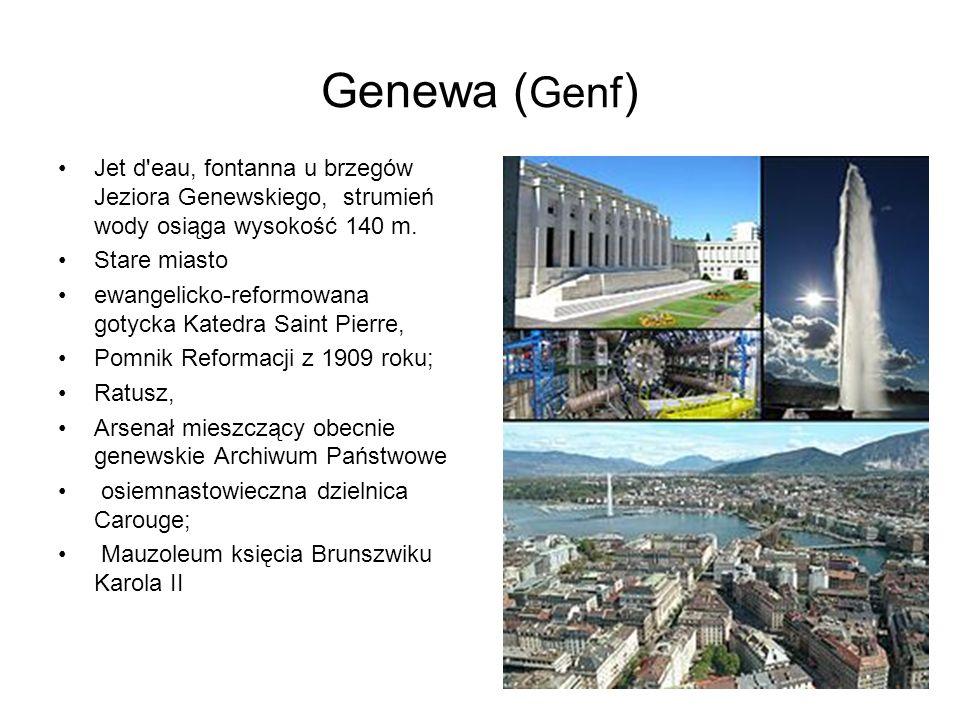 Genewa ( Genf ) Jet d'eau, fontanna u brzegów Jeziora Genewskiego, strumień wody osiąga wysokość 140 m. Stare miasto ewangelicko-reformowana gotycka K