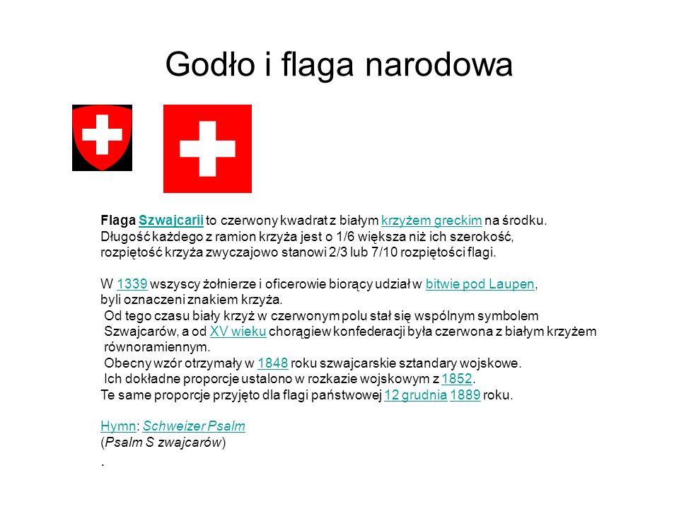 Godło i flaga narodowa Flaga Szwajcarii to czerwony kwadrat z białym krzyżem greckim na środku.Szwajcariikrzyżem greckim Długość każdego z ramion krzy