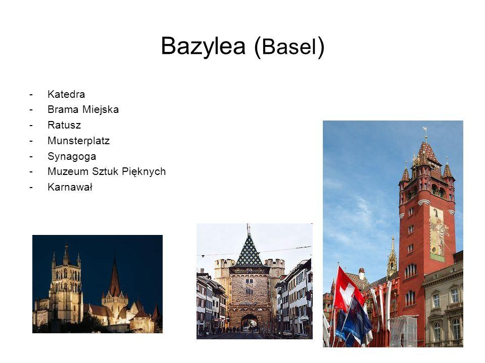 Bazylea ( Basel ) -Katedra -Brama Miejska -Ratusz -Munsterplatz -Synagoga -Muzeum Sztuk Pięknych -Karnawał