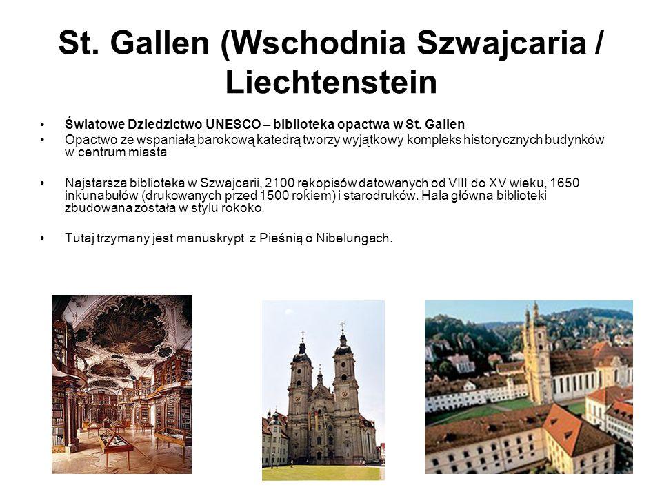 St. Gallen (Wschodnia Szwajcaria / Liechtenstein Światowe Dziedzictwo UNESCO – biblioteka opactwa w St. Gallen Opactwo ze wspaniałą barokową katedrą t
