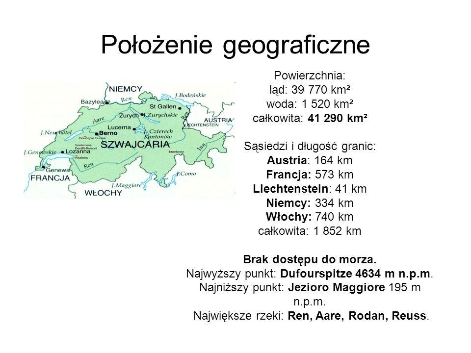 Położenie geograficzne Powierzchnia: ląd: 39 770 km² woda: 1 520 km² całkowita: 41 290 km² Sąsiedzi i długość granic: Austria: 164 km Francja: 573 km