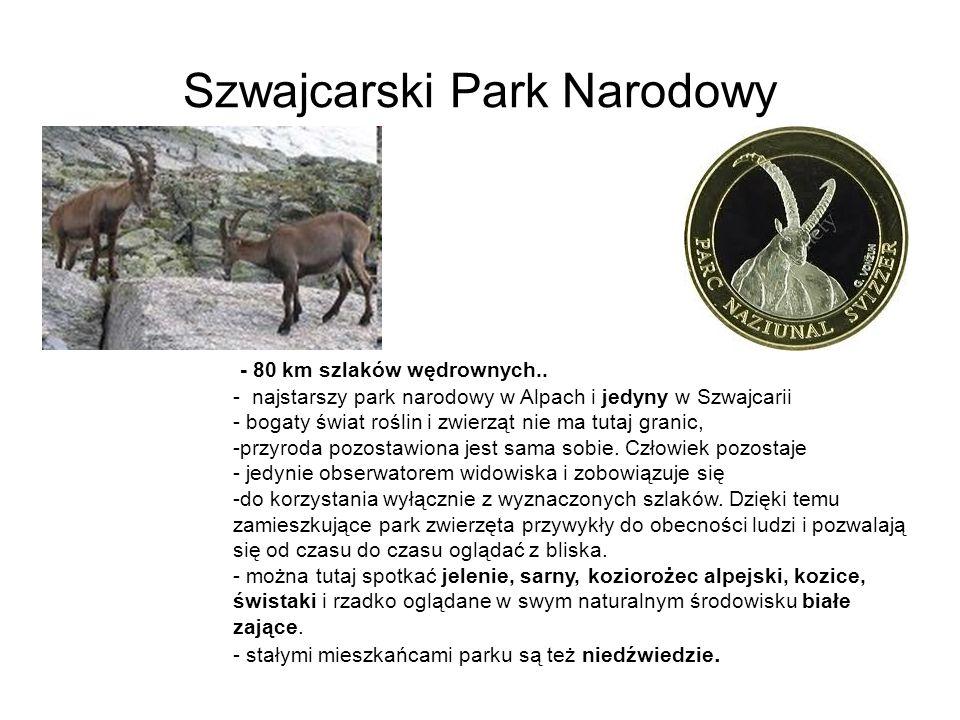 Szwajcarski Park Narodowy - 80 km szlaków wędrownych.. - najstarszy park narodowy w Alpach i jedyny w Szwajcarii - bogaty świat roślin i zwierząt nie