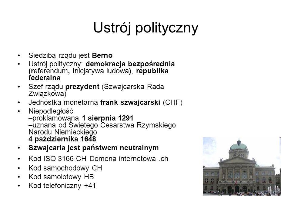 Ustrój polityczny Siedzibą rządu jest Berno Ustrój polityczny: demokracja bezpośrednia (referendum, inicjatywa ludowa), republika federalna Szef rządu