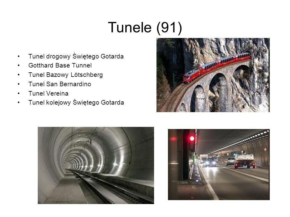 Tunele (91) Tunel drogowy Świętego Gotarda Gotthard Base Tunnel Tunel Bazowy Lötschberg Tunel San Bernardino Tunel Vereina Tunel kolejowy Świętego Got