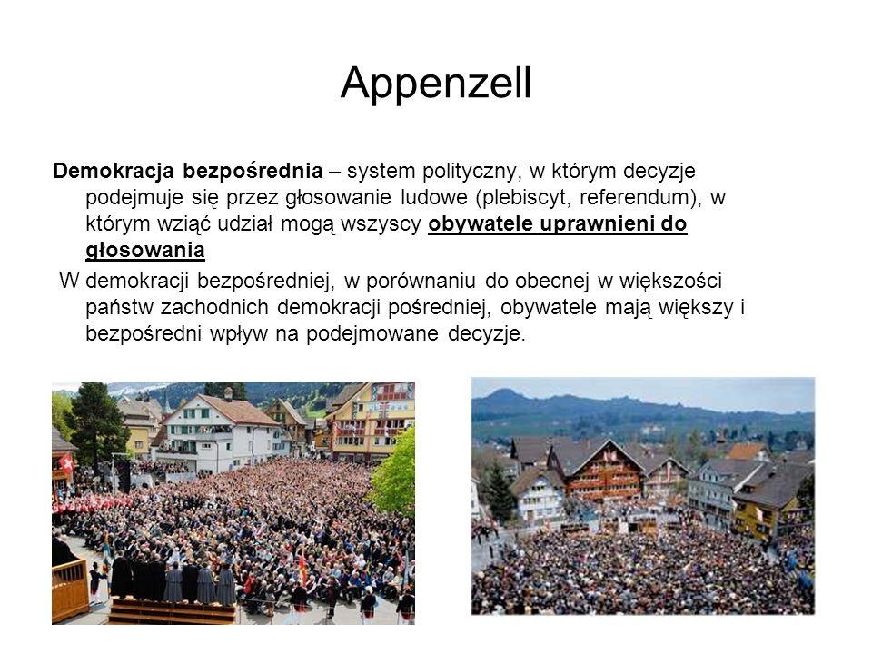 Appenzell Demokracja bezpośrednia – system polityczny, w którym decyzje podejmuje się przez głosowanie ludowe (plebiscyt, referendum), w którym wziąć
