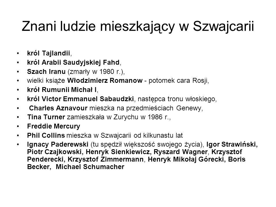 Znani ludzie mieszkający w Szwajcarii król Tajlandii, król Arabii Saudyjskiej Fahd, Szach Iranu (zmarły w 1980 r.), wielki książe Włodzimierz Romanow