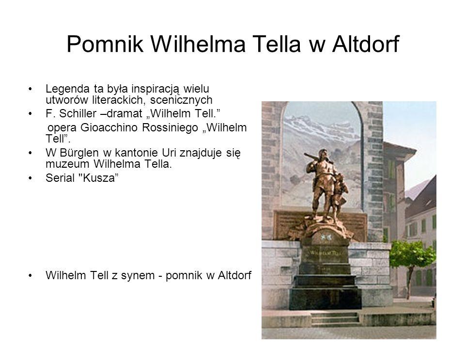 Pomnik Wilhelma Tella w Altdorf Legenda ta była inspiracją wielu utworów literackich, scenicznych F. Schiller –dramat Wilhelm Tell. opera Gioacchino R