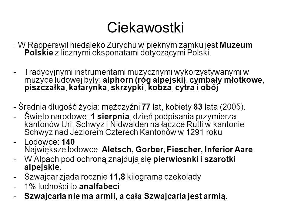 Ciekawostki - W Rapperswil niedaleko Zurychu w pięknym zamku jest Muzeum Polskie z licznymi eksponatami dotyczącymi Polski. -Tradycyjnymi instrumentam