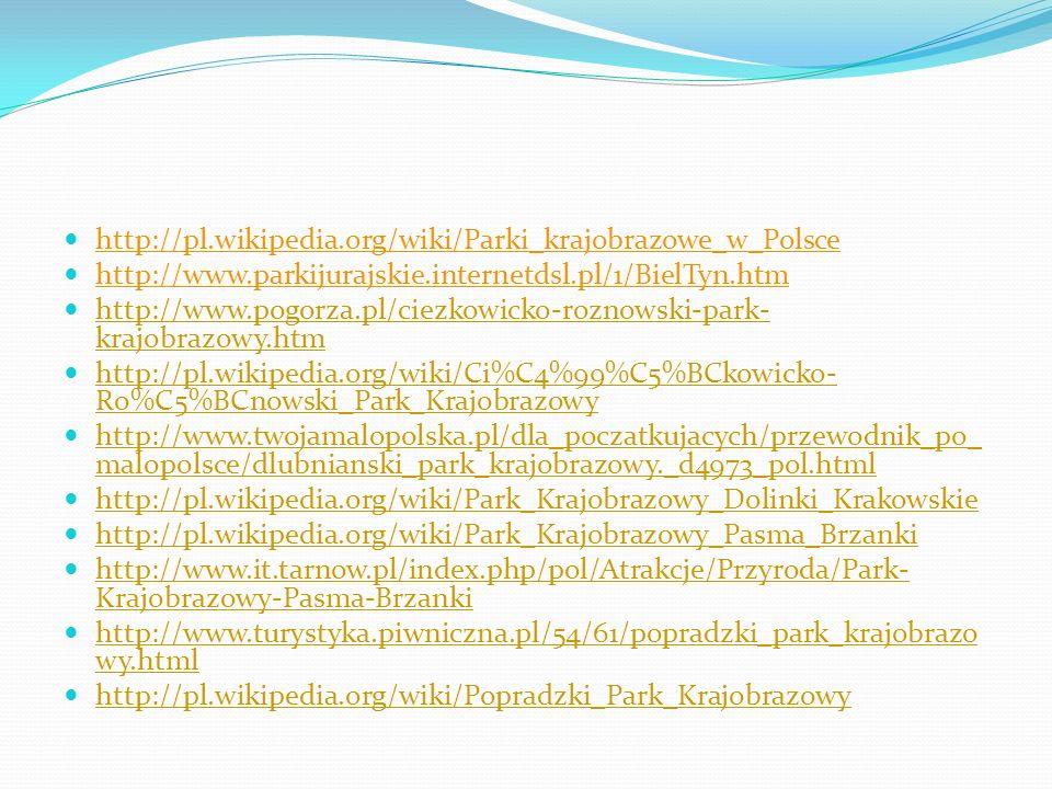 http://pl.wikipedia.org/wiki/Parki_krajobrazowe_w_Polsce http://www.parkijurajskie.internetdsl.pl/1/BielTyn.htm http://www.pogorza.pl/ciezkowicko-rozn