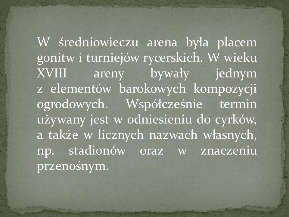 W średniowieczu arena była placem gonitw i turniejów rycerskich. W wieku XVIII areny bywały jednym z elementów barokowych kompozycji ogrodowych. Współ