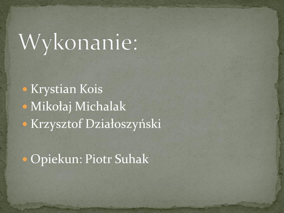 Krystian Kois Mikołaj Michalak Krzysztof Działoszyński Opiekun: Piotr Suhak