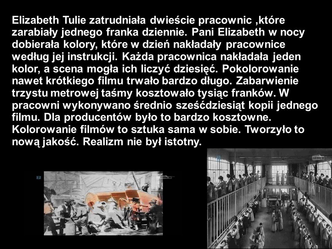Elizabeth Tulie zatrudniała dwieście pracownic,które zarabiały jednego franka dziennie. Pani Elizabeth w nocy dobierała kolory, które w dzień nakładał
