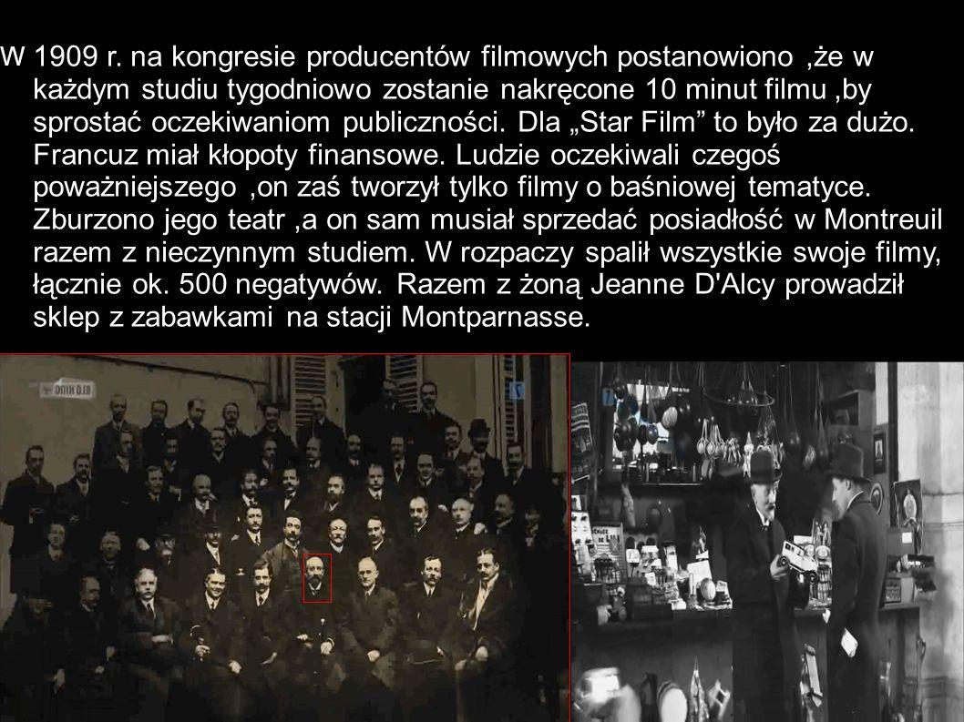 W 1909 r. na kongresie producentów filmowych postanowiono,że w każdym studiu tygodniowo zostanie nakręcone 10 minut filmu,by sprostać oczekiwaniom pub