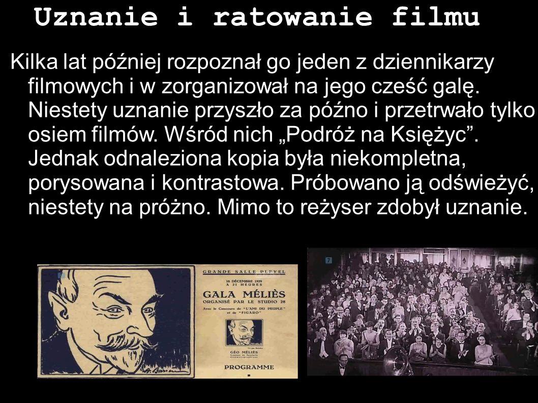 Uznanie i ratowanie filmu Kilka lat później rozpoznał go jeden z dziennikarzy filmowych i w zorganizował na jego cześć galę. Niestety uznanie przyszło