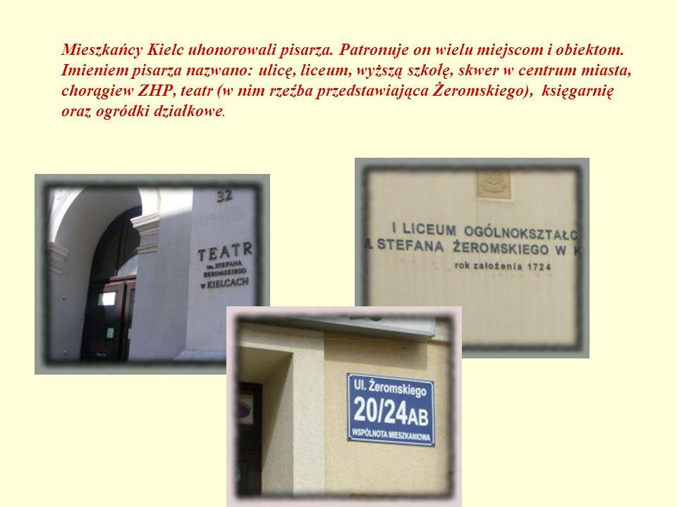 Mieszkańcy Kielc uhonorowali pisarza. Patronuje on wielu miejscom i obiektom. Imieniem pisarza nazwano: ulicę, liceum, wyższą szkołę, skwer w centrum