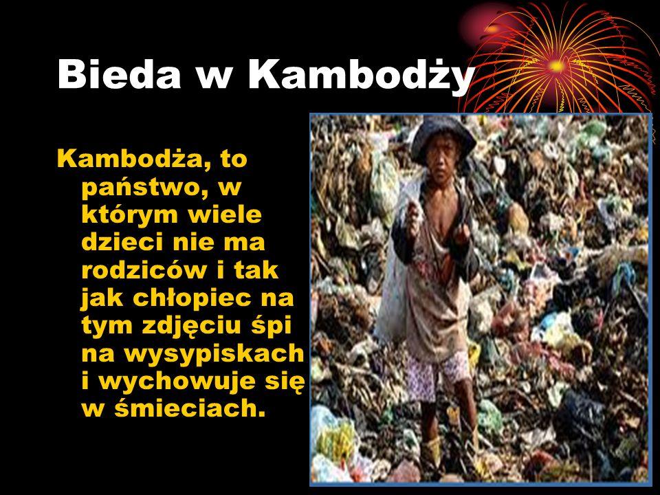 Bieda w Kambodży Kambodża, to państwo, w którym wiele dzieci nie ma rodziców i tak jak chłopiec na tym zdjęciu śpi na wysypiskach i wychowuje się w śm