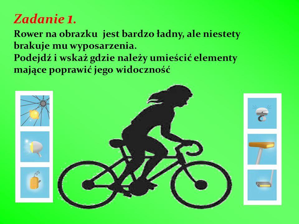 Zadanie 1. Rower na obrazku jest bardzo ładny, ale niestety brakuje mu wyposarzenia. Podejdź i wskaż gdzie należy umieścić elementy mające poprawić je