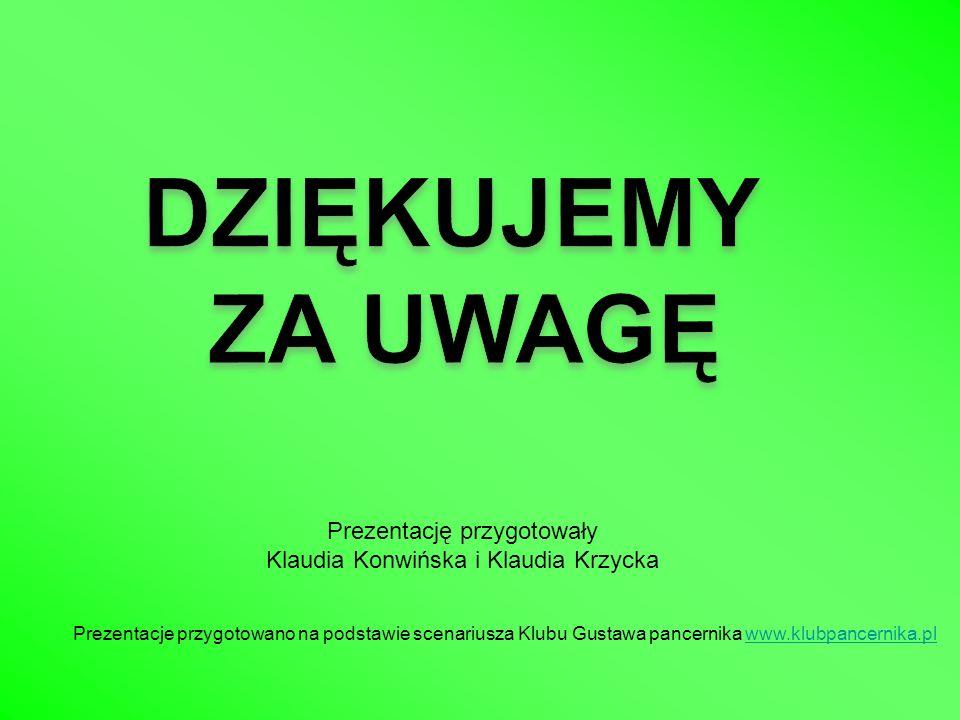 Prezentację przygotowały Klaudia Konwińska i Klaudia Krzycka Prezentacje przygotowano na podstawie scenariusza Klubu Gustawa pancernika www.klubpancer