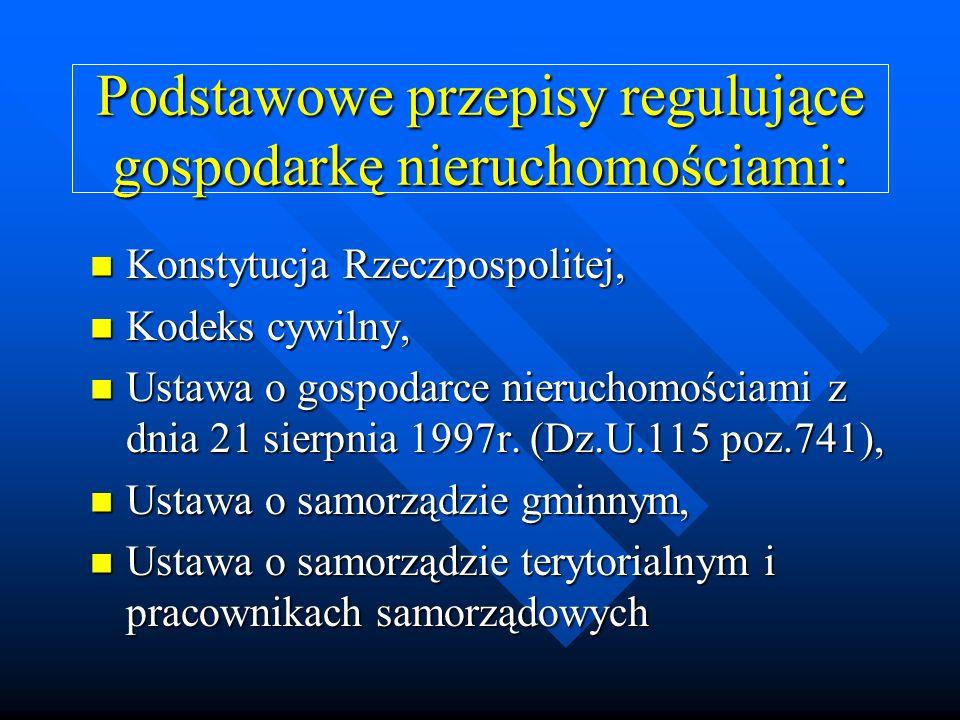 Podstawowe przepisy regulujące gospodarkę nieruchomościami: Konstytucja Rzeczpospolitej, Konstytucja Rzeczpospolitej, Kodeks cywilny, Kodeks cywilny,
