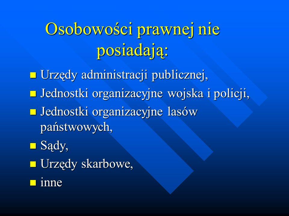 Osobowości prawnej nie posiadają: Urzędy administracji publicznej, Urzędy administracji publicznej, Jednostki organizacyjne wojska i policji, Jednostk