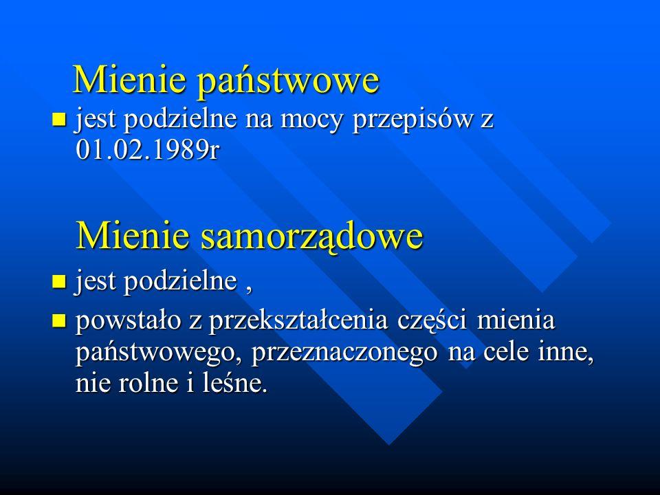 Mienie państwowe jest podzielne na mocy przepisów z 01.02.1989r jest podzielne na mocy przepisów z 01.02.1989r Mienie samorządowe Mienie samorządowe j