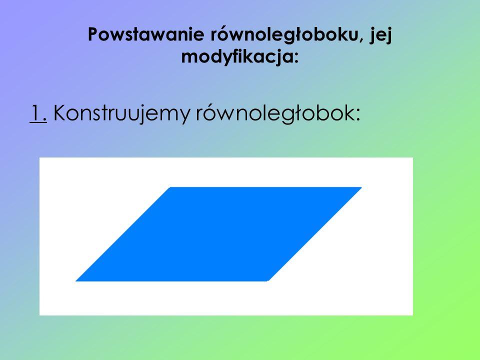 Powstawanie równoległoboku, jej modyfikacja: 1. Konstruujemy równoległobok: