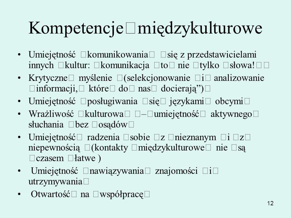 12 Kompetencje międzykulturowe Umiejętność komunikowania się z przedstawicielami innych kultur: komunikacja to nie tylko słowa! Krytyczne myślenie (se