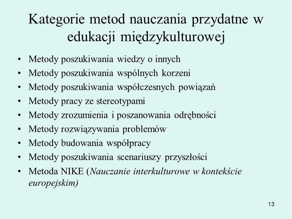 13 Kategorie metod nauczania przydatne w edukacji międzykulturowej Metody poszukiwania wiedzy o innych Metody poszukiwania wspólnych korzeni Metody po