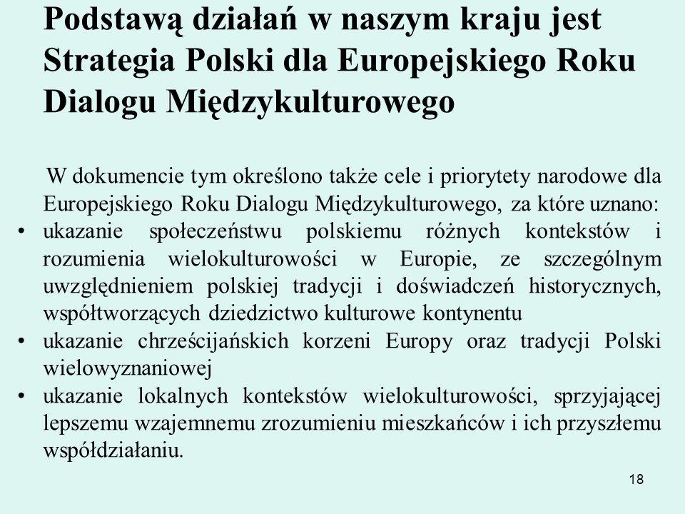 18 Podstawą działań w naszym kraju jest Strategia Polski dla Europejskiego Roku Dialogu Międzykulturowego W dokumencie tym określono także cele i prio