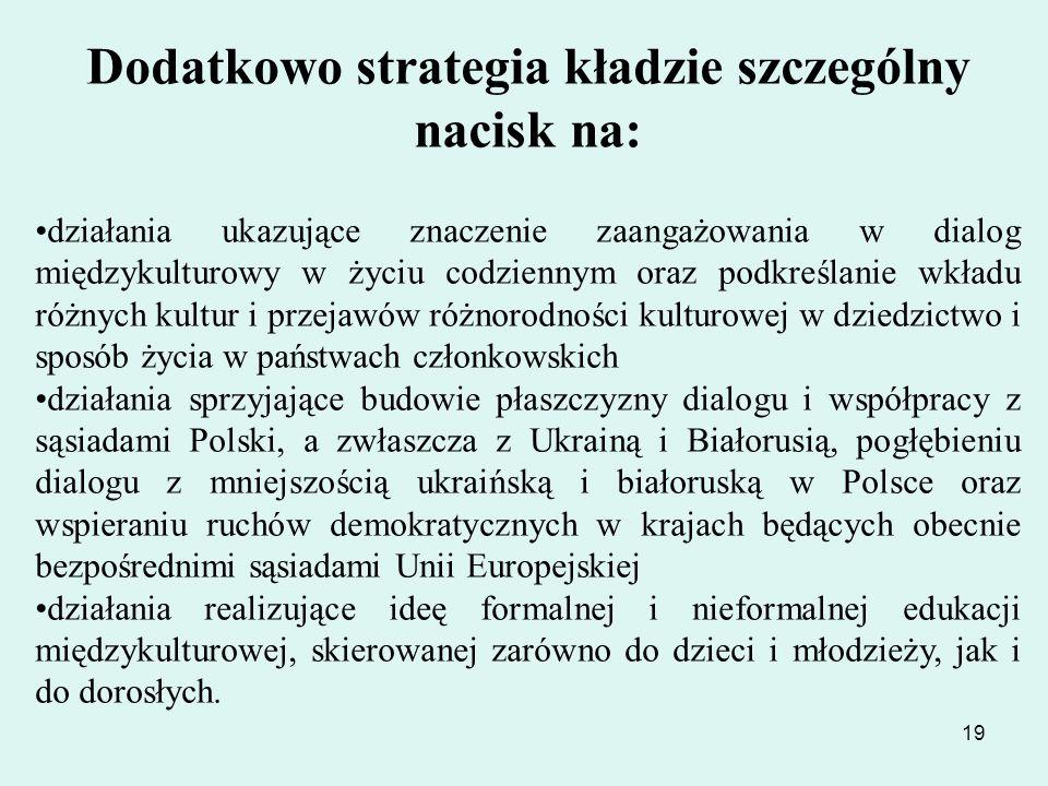19 Dodatkowo strategia kładzie szczególny nacisk na: działania ukazujące znaczenie zaangażowania w dialog międzykulturowy w życiu codziennym oraz podk