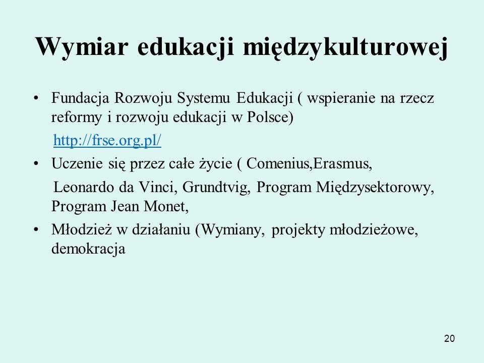 20 Wymiar edukacji międzykulturowej Fundacja Rozwoju Systemu Edukacji ( wspieranie na rzecz reformy i rozwoju edukacji w Polsce) http://frse.org.pl/ U