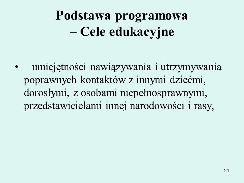 21 Podstawa programowa – Cele edukacyjne umiejętności nawiązywania i utrzymywania poprawnych kontaktów z innymi dziećmi, dorosłymi, z osobami niepełno