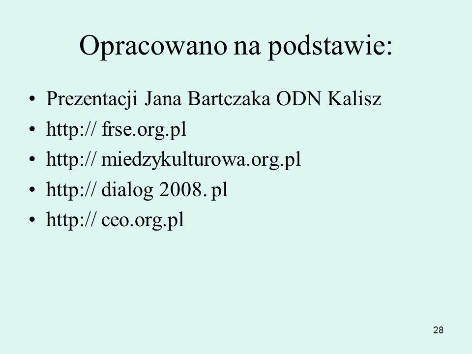28 Opracowano na podstawie: Prezentacji Jana Bartczaka ODN Kalisz http:// frse.org.pl http:// miedzykulturowa.org.pl http:// dialog 2008. pl http:// c