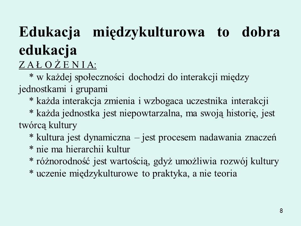 19 Dodatkowo strategia kładzie szczególny nacisk na: działania ukazujące znaczenie zaangażowania w dialog międzykulturowy w życiu codziennym oraz podkreślanie wkładu różnych kultur i przejawów różnorodności kulturowej w dziedzictwo i sposób życia w państwach członkowskich działania sprzyjające budowie płaszczyzny dialogu i współpracy z sąsiadami Polski, a zwłaszcza z Ukrainą i Białorusią, pogłębieniu dialogu z mniejszością ukraińską i białoruską w Polsce oraz wspieraniu ruchów demokratycznych w krajach będących obecnie bezpośrednimi sąsiadami Unii Europejskiej działania realizujące ideę formalnej i nieformalnej edukacji międzykulturowej, skierowanej zarówno do dzieci i młodzieży, jak i do dorosłych.