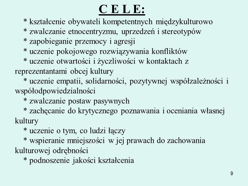 9 C E L E: * kształcenie obywateli kompetentnych międzykulturowo * zwalczanie etnocentryzmu, uprzedzeń i stereotypów * zapobieganie przemocy i agresji