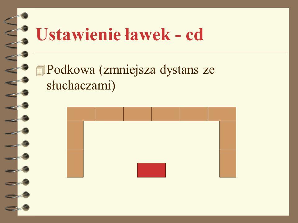Ustawienie ławek - cd 4 Podkowa (zmniejsza dystans ze słuchaczami)