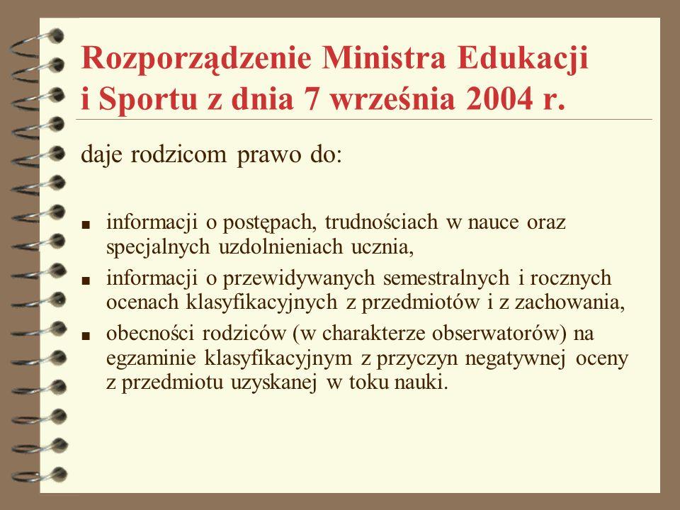 Rozporządzenie Ministra Edukacji i Sportu z dnia 7 września 2004 r. daje rodzicom prawo do: informacji o postępach, trudnościach w nauce oraz specjaln
