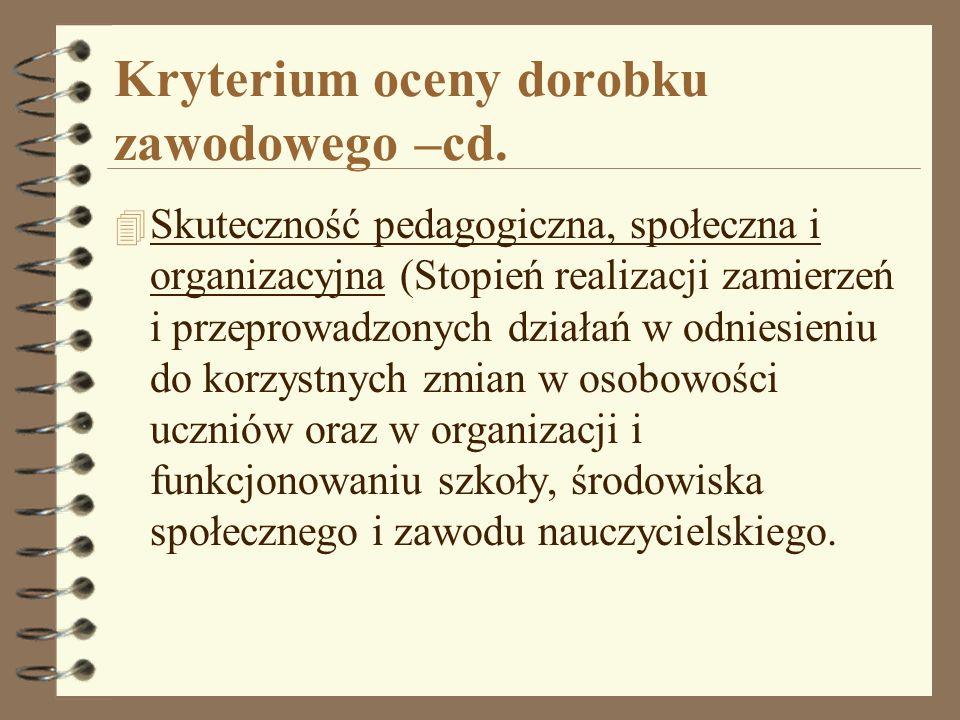 Kryterium oceny dorobku zawodowego –cd. 4 Skuteczność pedagogiczna, społeczna i organizacyjna (Stopień realizacji zamierzeń i przeprowadzonych działań