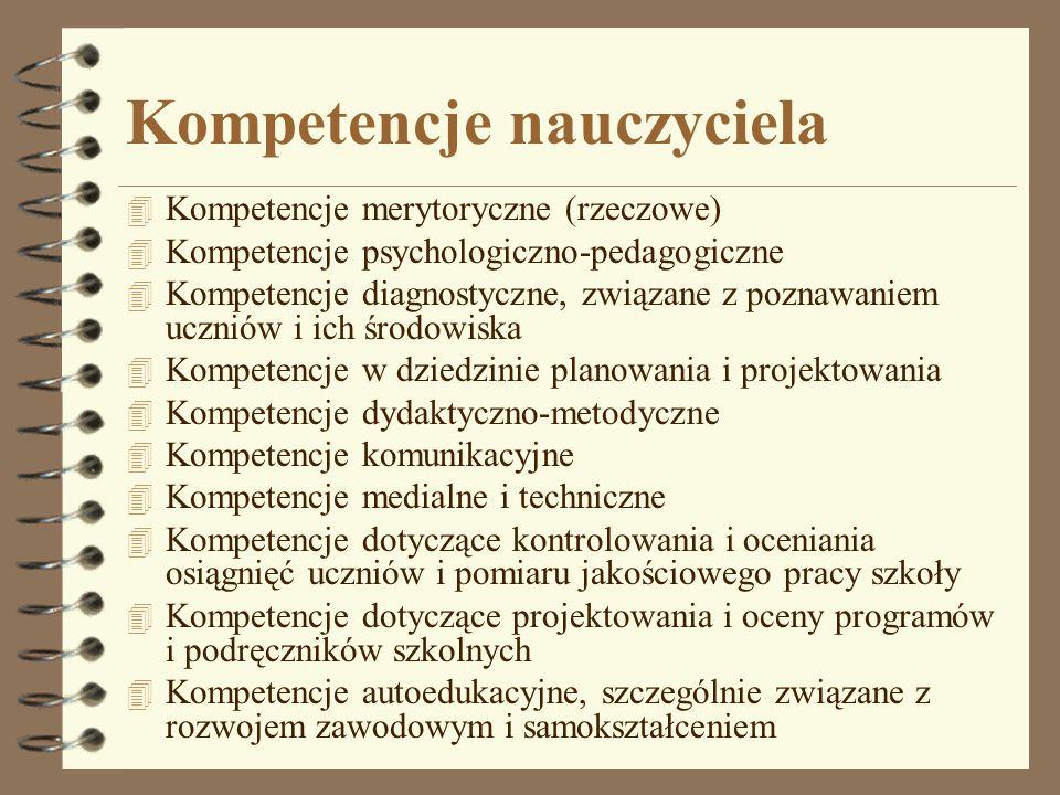 Kompetencje nauczyciela 4 Kompetencje merytoryczne (rzeczowe) 4 Kompetencje psychologiczno-pedagogiczne 4 Kompetencje diagnostyczne, związane z poznaw