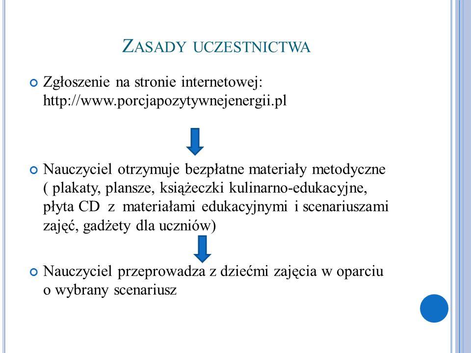 Z ASADY UCZESTNICTWA Zgłoszenie na stronie internetowej: http://www.porcjapozytywnejenergii.pl Nauczyciel otrzymuje bezpłatne materiały metodyczne ( p